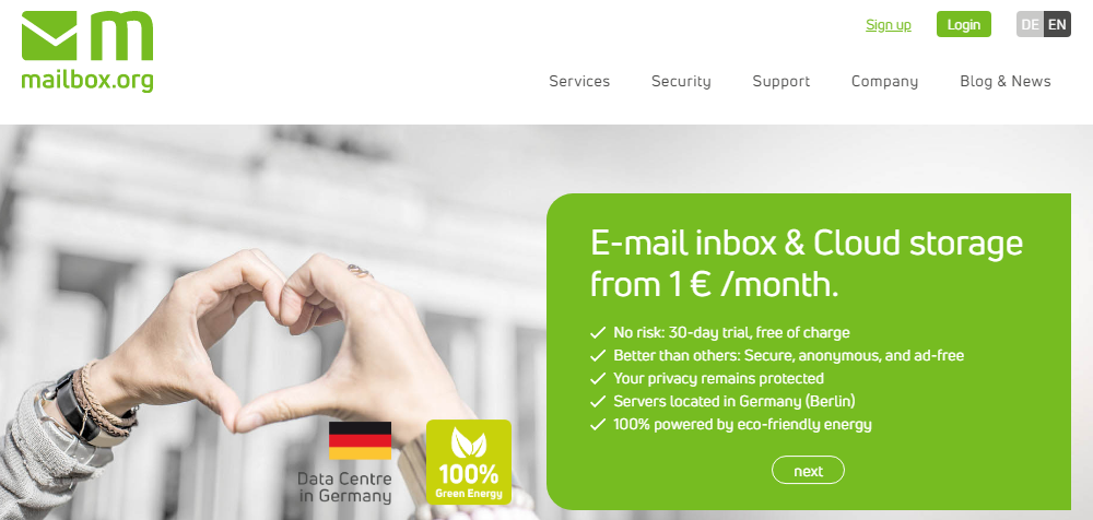 mailbox website screenshot