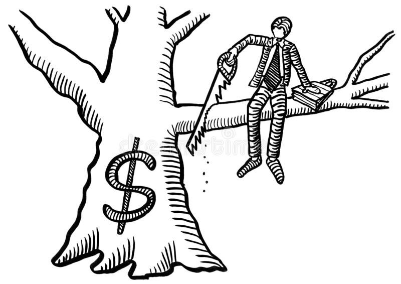 drawn-business-man-cutting-branch-sitting-freehand-drawing-off-dollar-tree-crosscut-saw-metaphor-166844803