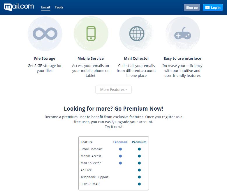 mail.com website screenshot
