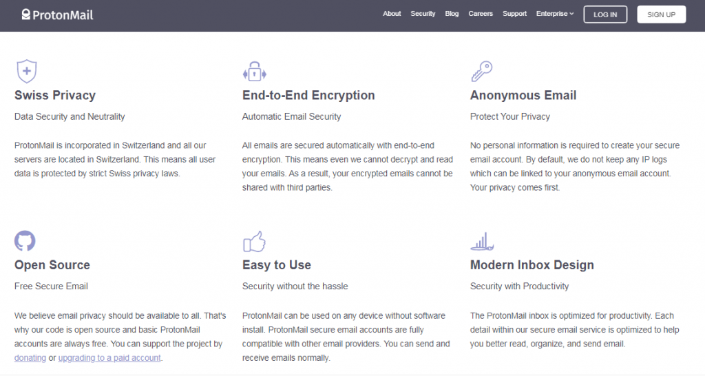 protonmail features