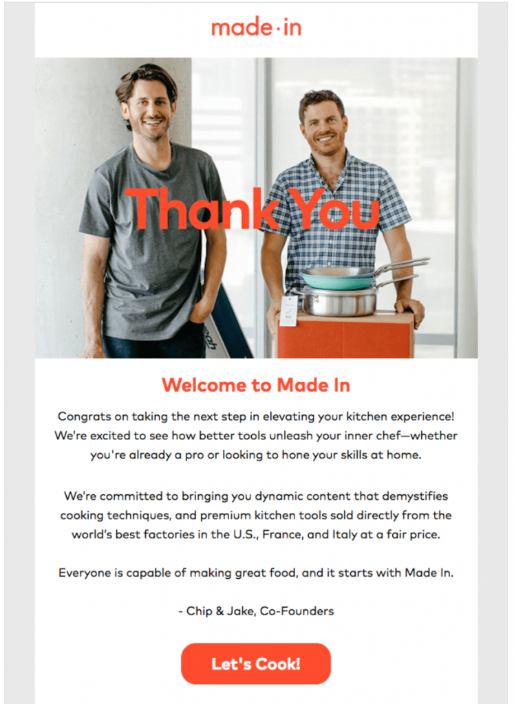 welcome email of mode