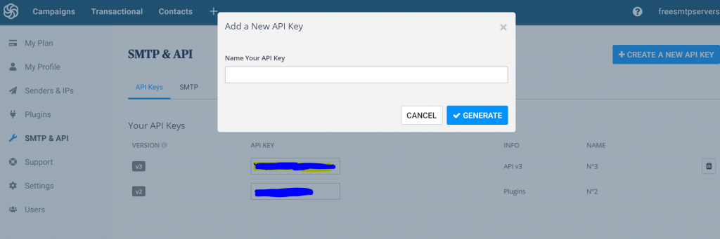 sendinblue SMP API Key