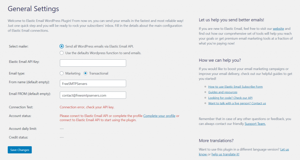 elastic email sender plugin screenshot