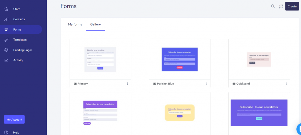 elastic email forms
