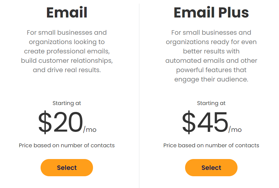 constant contact pricing