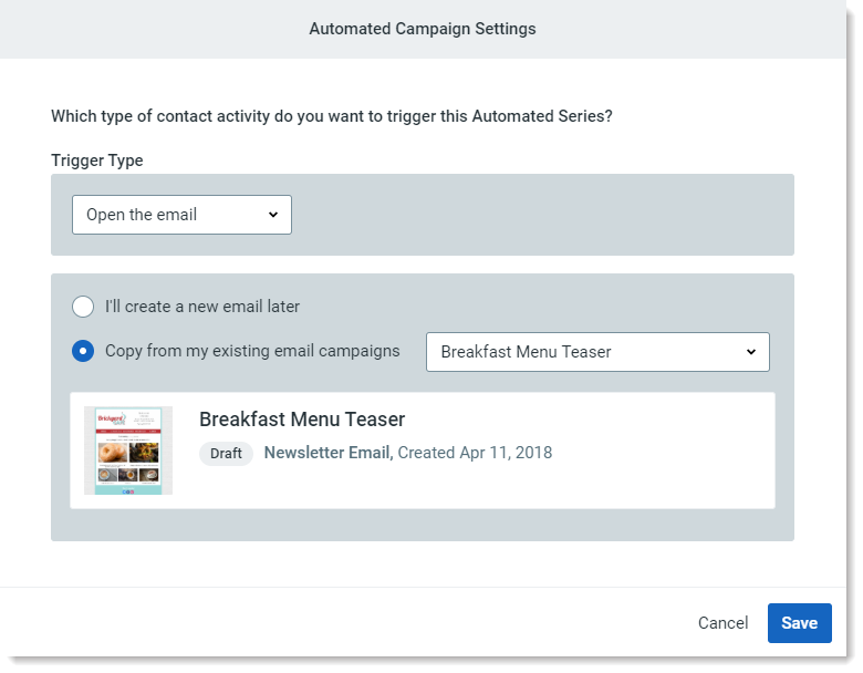 constant contact automated campaign features