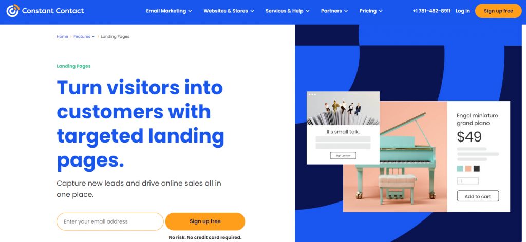 constant contact landing pages
