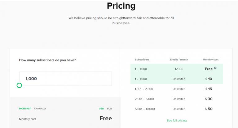 mailerlite pricing